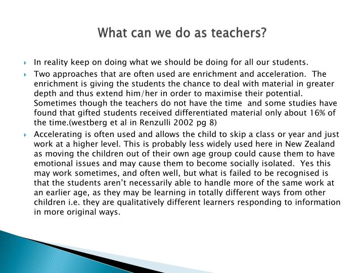 What can we do as teachers?