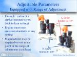 adjustable parameters equipped with range of adjustment