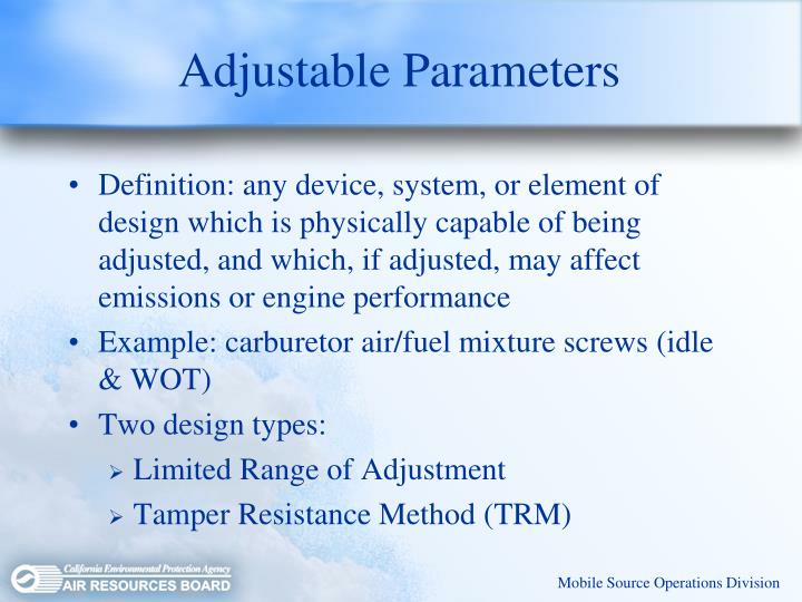 Adjustable Parameters