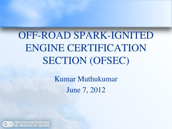off road spark ignited engine certification section ofsec