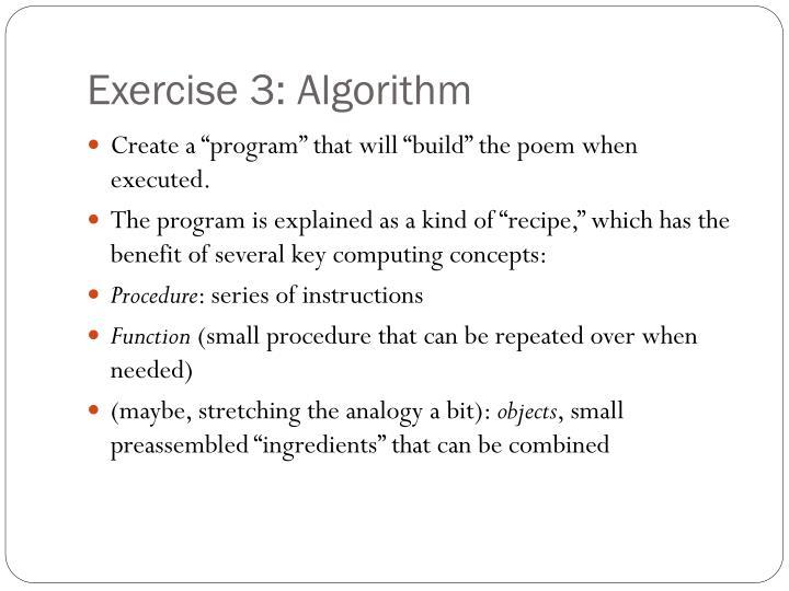 Exercise 3: Algorithm