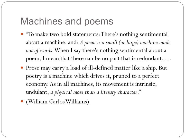 Machines and poems