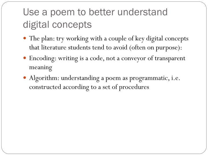 Use a poem to better understand digital concepts