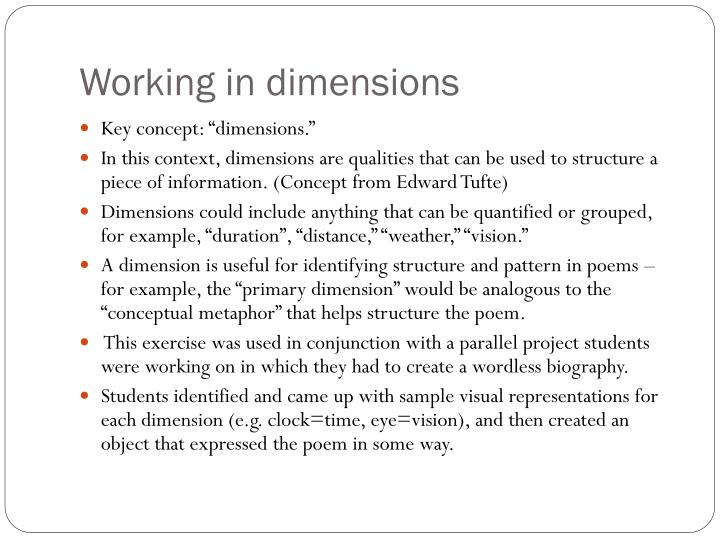 Working in dimensions