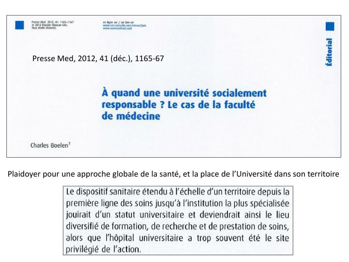Presse Med, 2012, 41 (déc.), 1165-67