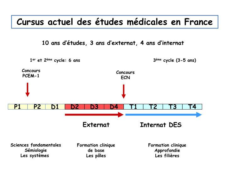 Cursus actuel des études médicales en France