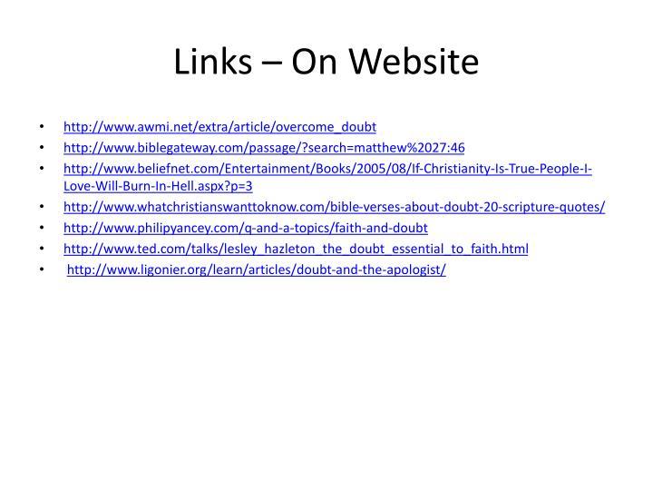 Links – On Website