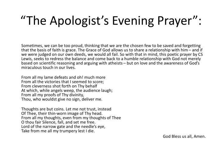 """The Apologist's Evening Prayer"":"