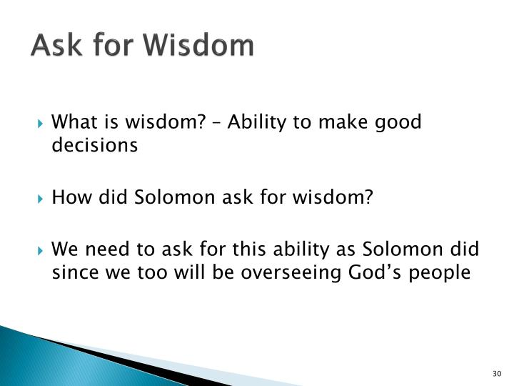 Ask for Wisdom