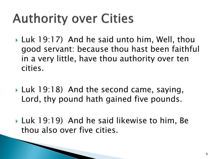 Authority over Cities