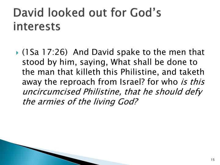 David looked out for God's interests