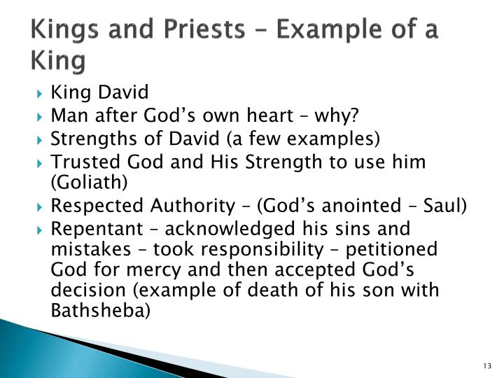 Kings and Priests – Example of a King