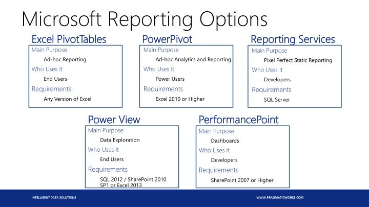 Microsoft Reporting Options