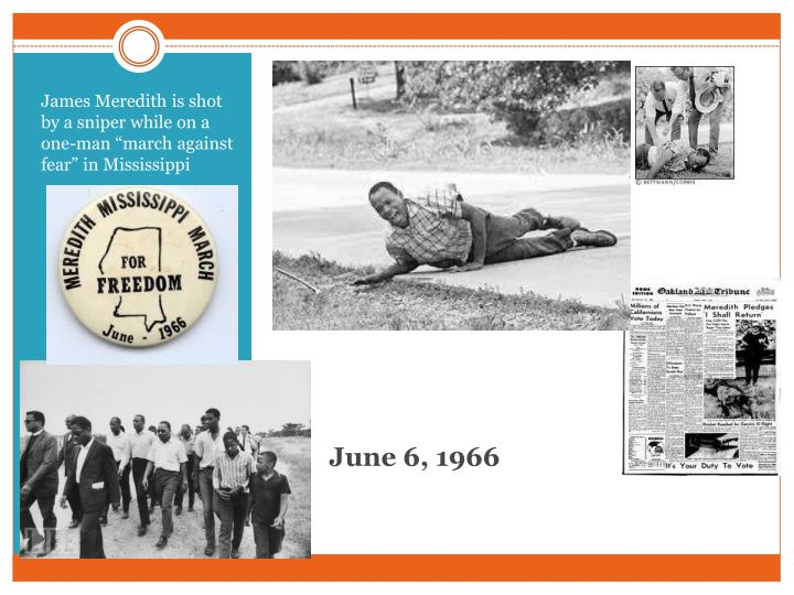 "James Meredith is shot by a sniper while on a one-man ""march against fear"" in Mississippi"