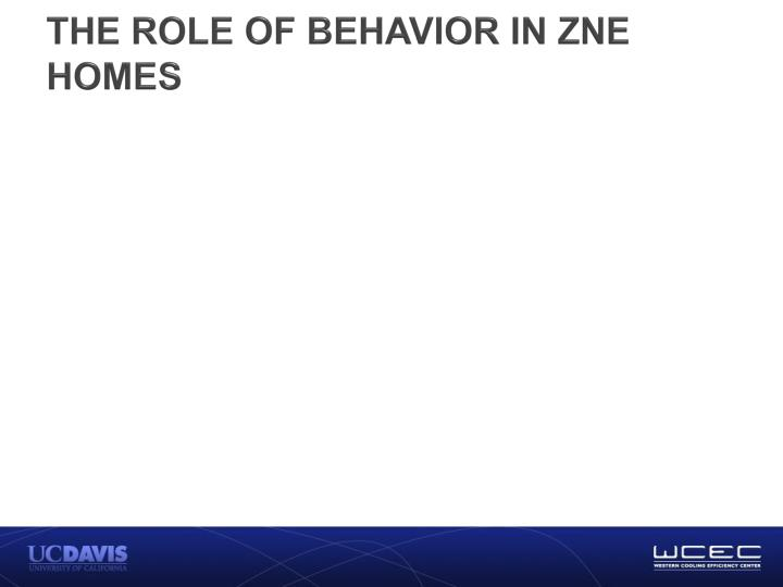 THE ROLE OF BEHAVIOR IN