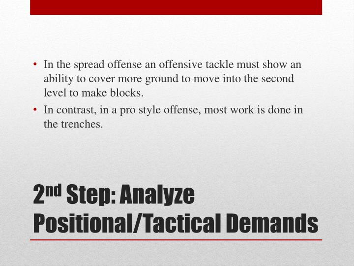 In the spread offense an offensive tackle must show an ability to cover more ground to move into the second level to make blocks