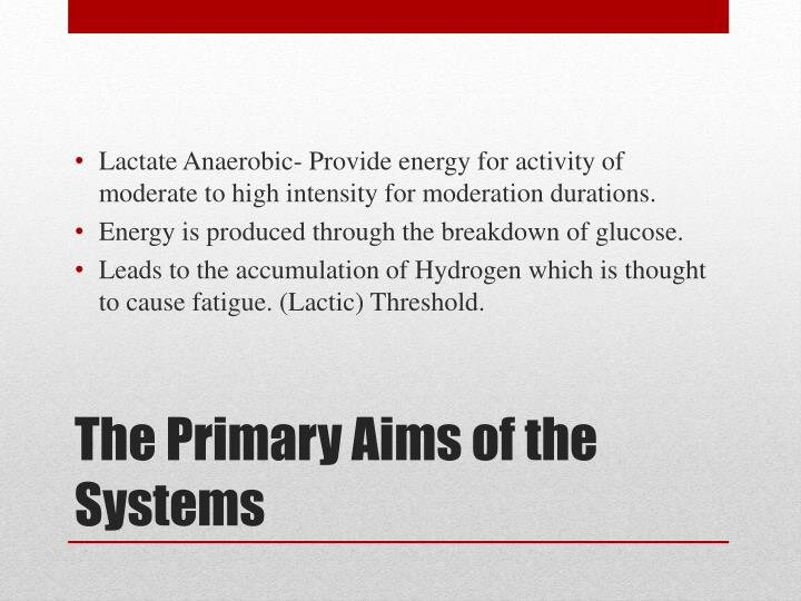Lactate Anaerobic- Provide energy for activity of moderate to high intensity for moderation durations.