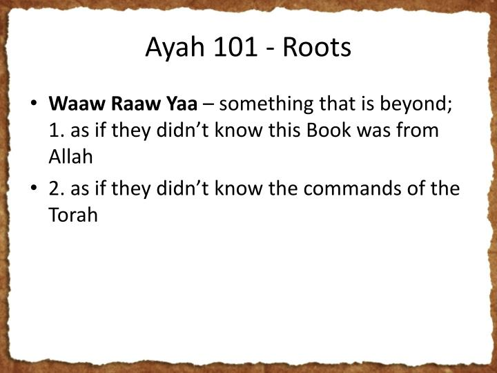 Ayah 101 - Roots