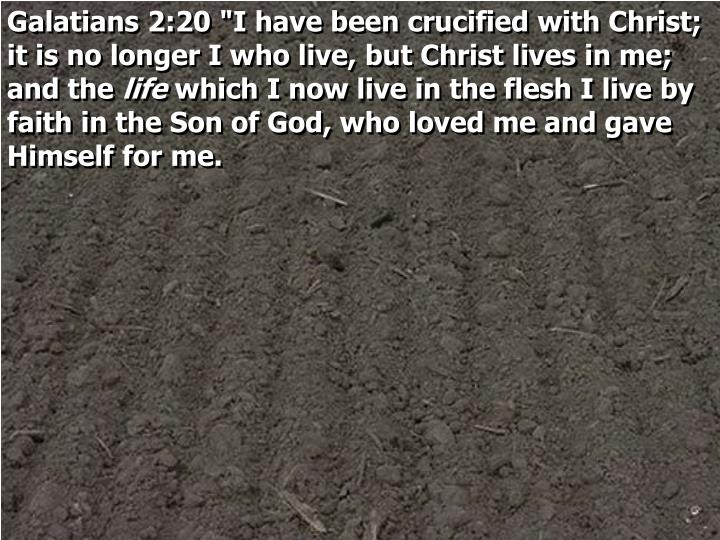 "Galatians 2:20 ""I have been crucified with Christ; it is no longer I who live, but Christ lives in me; and the"