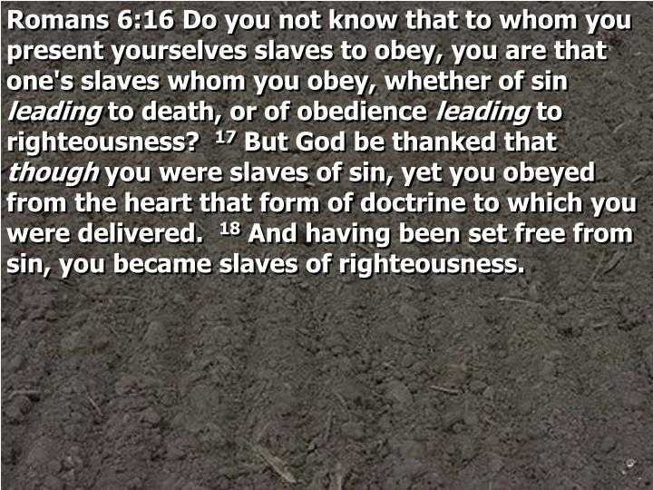 Romans 6:16 Do you not know that to whom you present yourselves slaves to obey, you are that one's slaves whom you obey, whether of sin