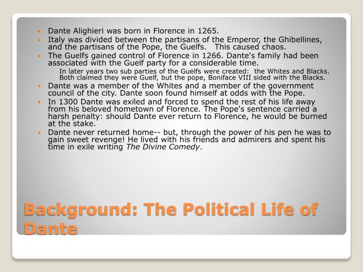 Dante Alighieri was born in Florence in 1265.
