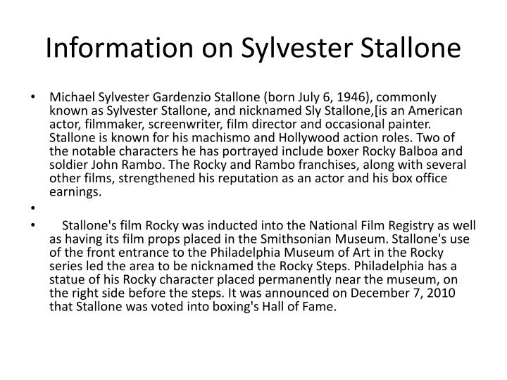 Information on sylvester stallone