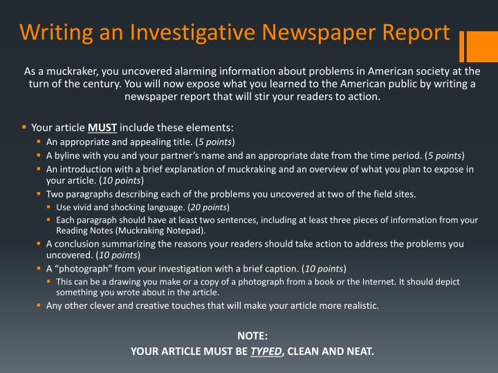 Writing an Investigative Newspaper Report
