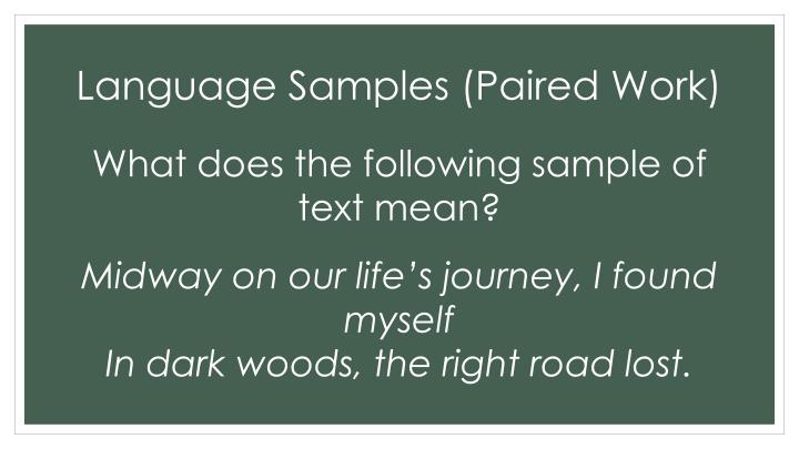 Language Samples (Paired Work)