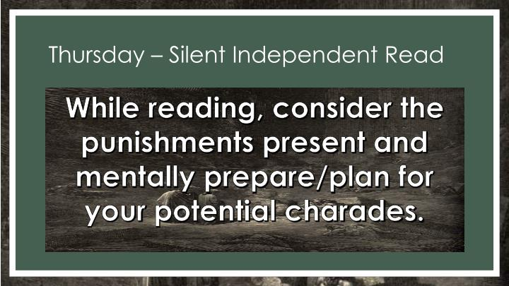 Thursday – Silent Independent Read