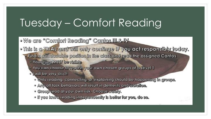 Tuesday – Comfort Reading