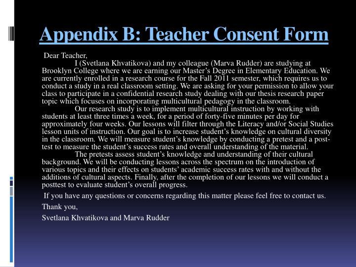 Appendix B: Teacher Consent
