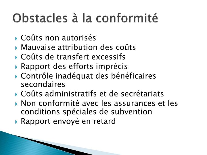 Obstacles à la conformité