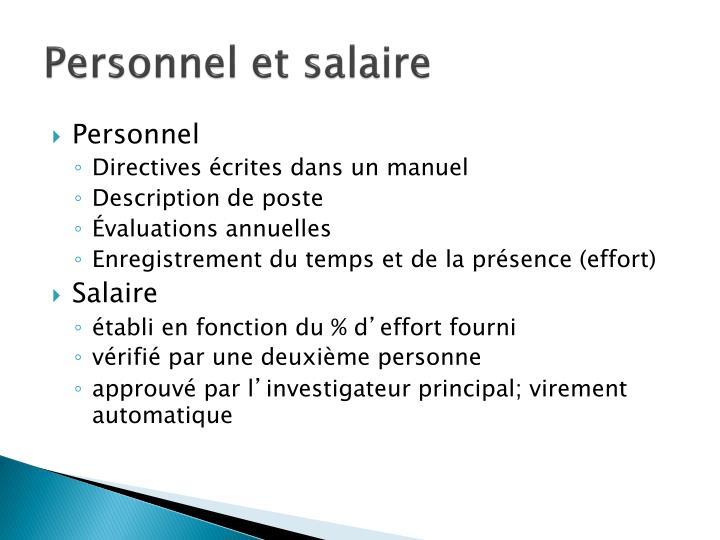 Personnel et salaire