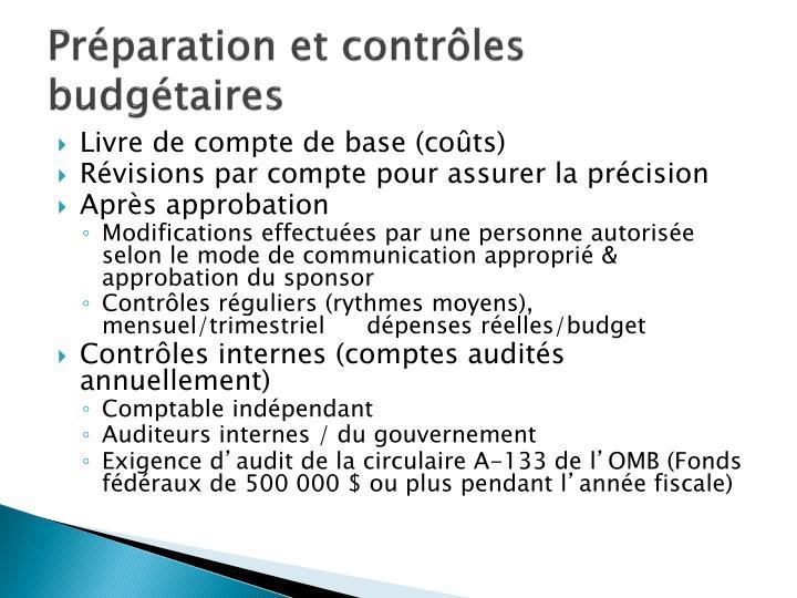 Préparation et contrôles budgétaires