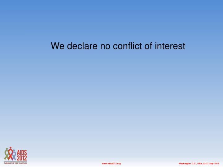 We declare no conflict of interest