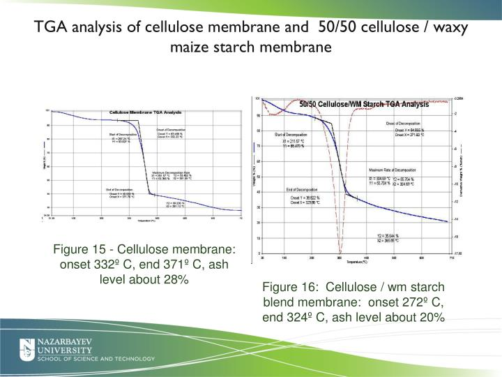 TGA analysis of cellulose membrane and  50/50 cellulose / waxy maize starch membrane