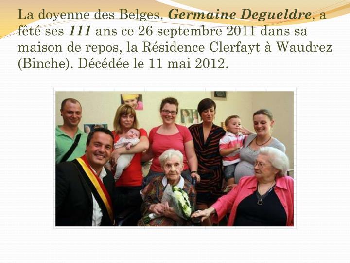 La doyenne des Belges,
