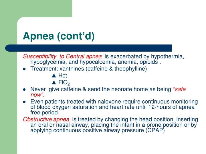 Apnea (cont'd)