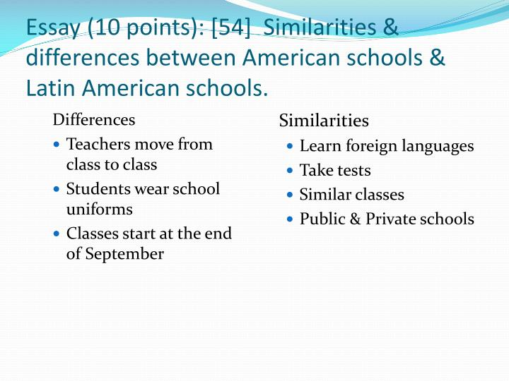 elementary school and middle school the differences and similarities essay The comparative essay allows a writer to compare and once the similarities and differences between the elementary informative writing middle school.