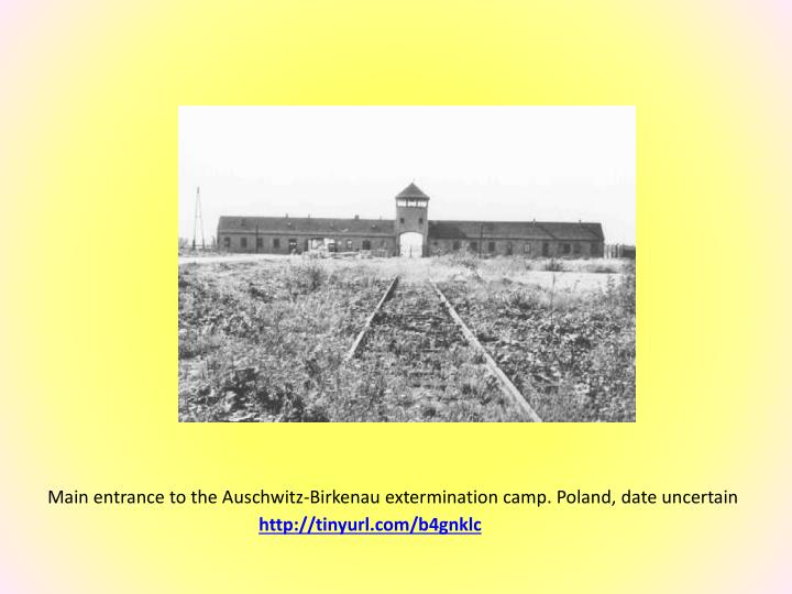 Main entrance to the Auschwitz-Birkenau extermination camp. Poland, date uncertain