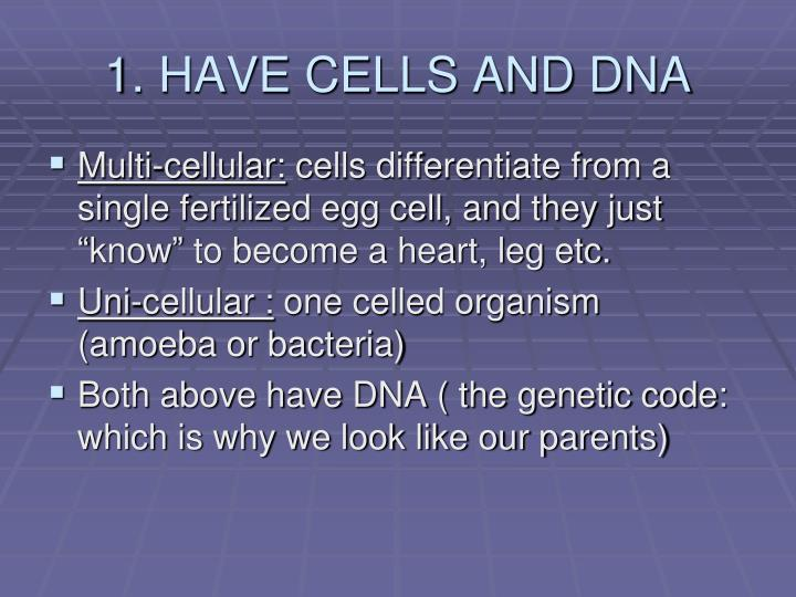 1. HAVE CELLS AND DNA