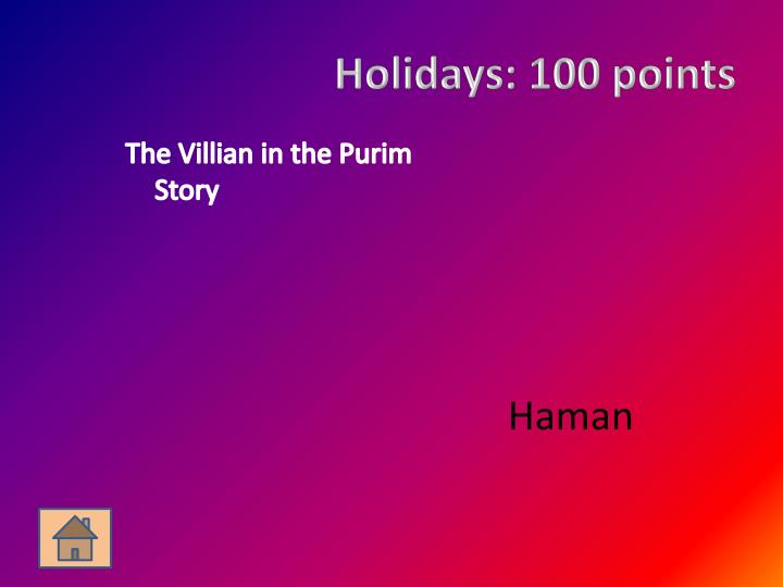 Holidays 100 points