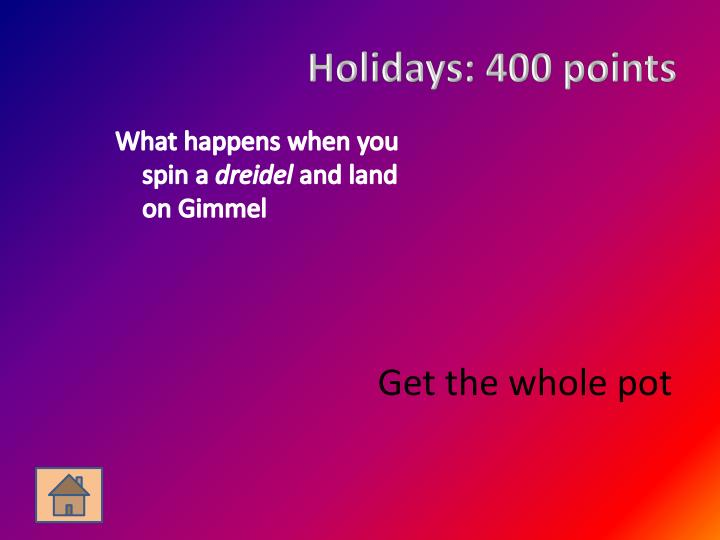 Holidays: 400 points