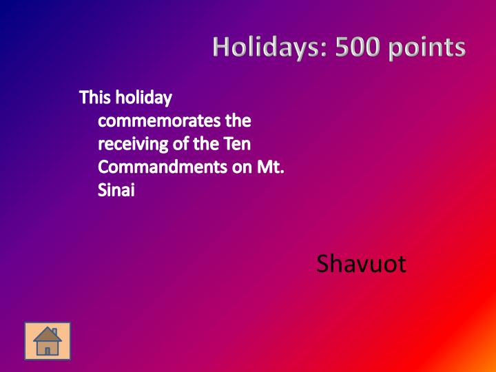 Holidays: 500 points