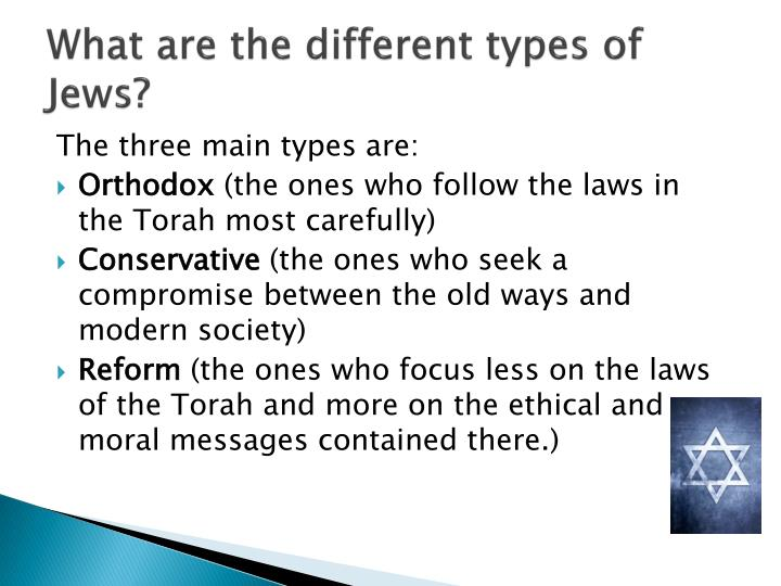 What are the different types of Jews?