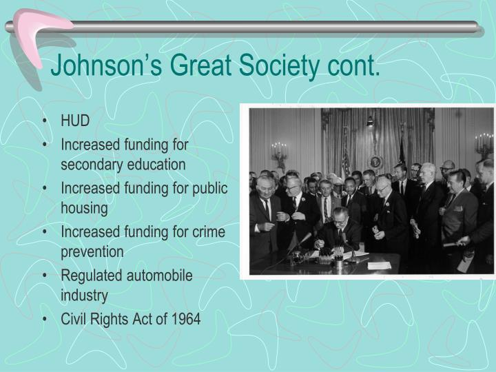 Johnson's Great Society cont.