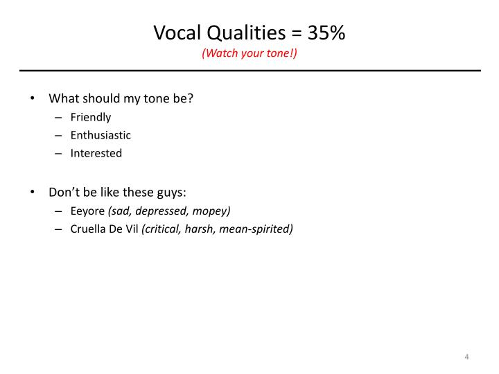 Vocal Qualities = 35%