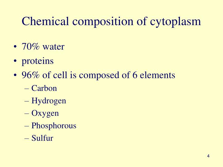 Chemical composition of cytoplasm