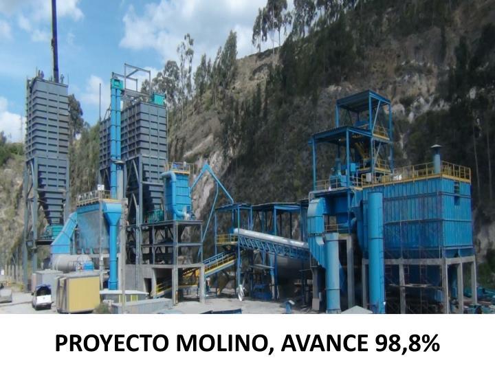 PROYECTO MOLINO, AVANCE 98,8%