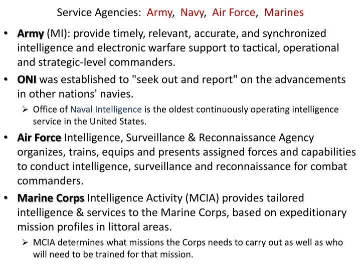 Service Agencies: